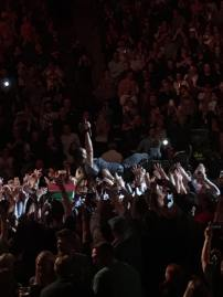 """Crowd surfing during """"Hungry Heart"""". Photo Credit: Caleigh Hunt"""