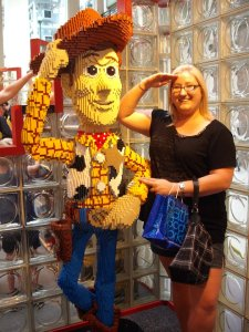 Making friends at Lego Land. I can't explain the salute. Or why I thought platinum blonde was a look for me.